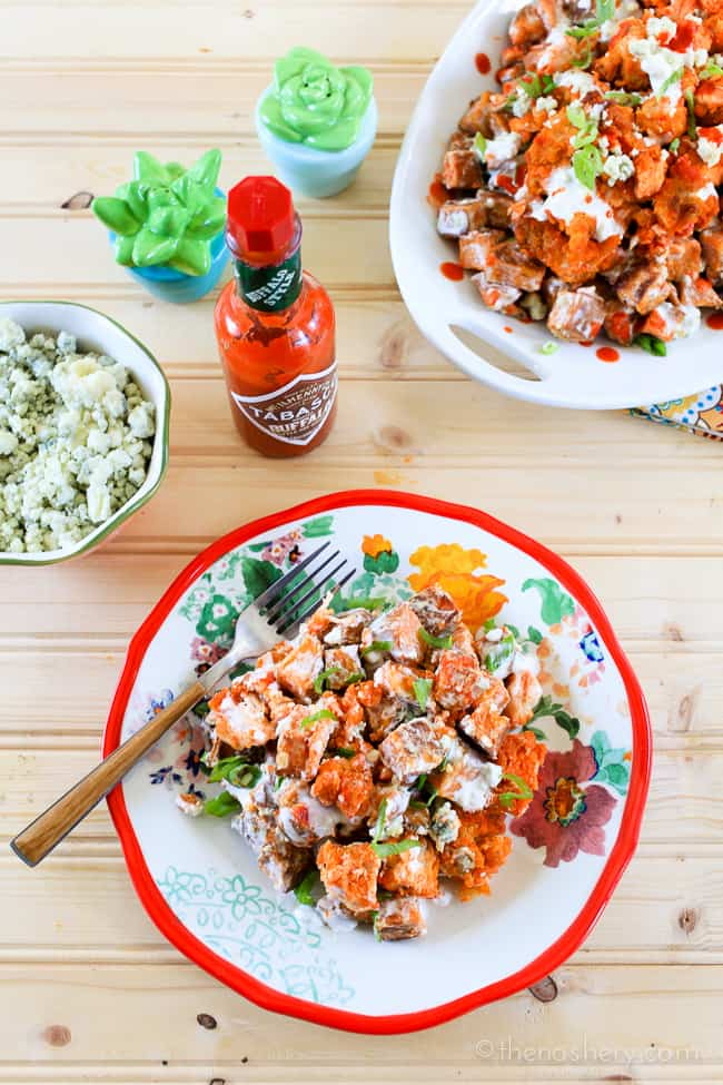 Buffalo Chicken and Sweet Potato Salad | TheNoshery.com - #TabascoTastemakers @Tabasco #ad
