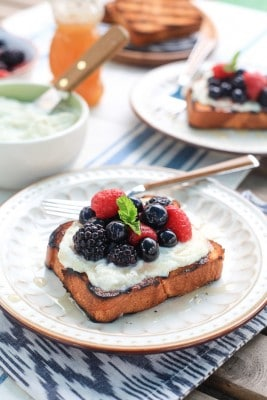 Grilled Brioche with Mixed Berry and Vanilla Ricotta
