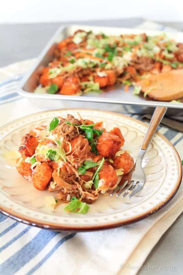 Bourbon BBQ Pulled Pork Totchos | TheNoshery.com #KCMasterpiece #ad @KCMBBQ