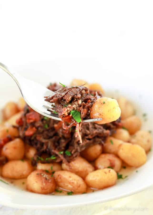 Braised Beef in Red Wine on a fork with pan fried gnocchi potato dumplings. | The Noshery