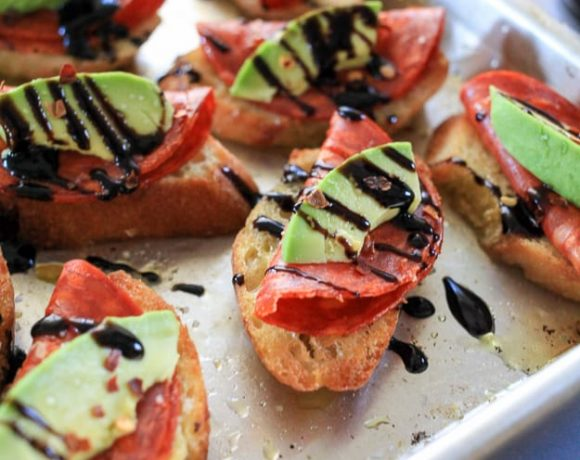Avocado and Chorizo Toasts with Balsamic Glaze