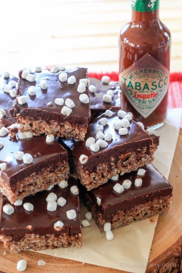 Hot Chocolate Crispy Treats | TheNoshery.com #TabascoTastemakers