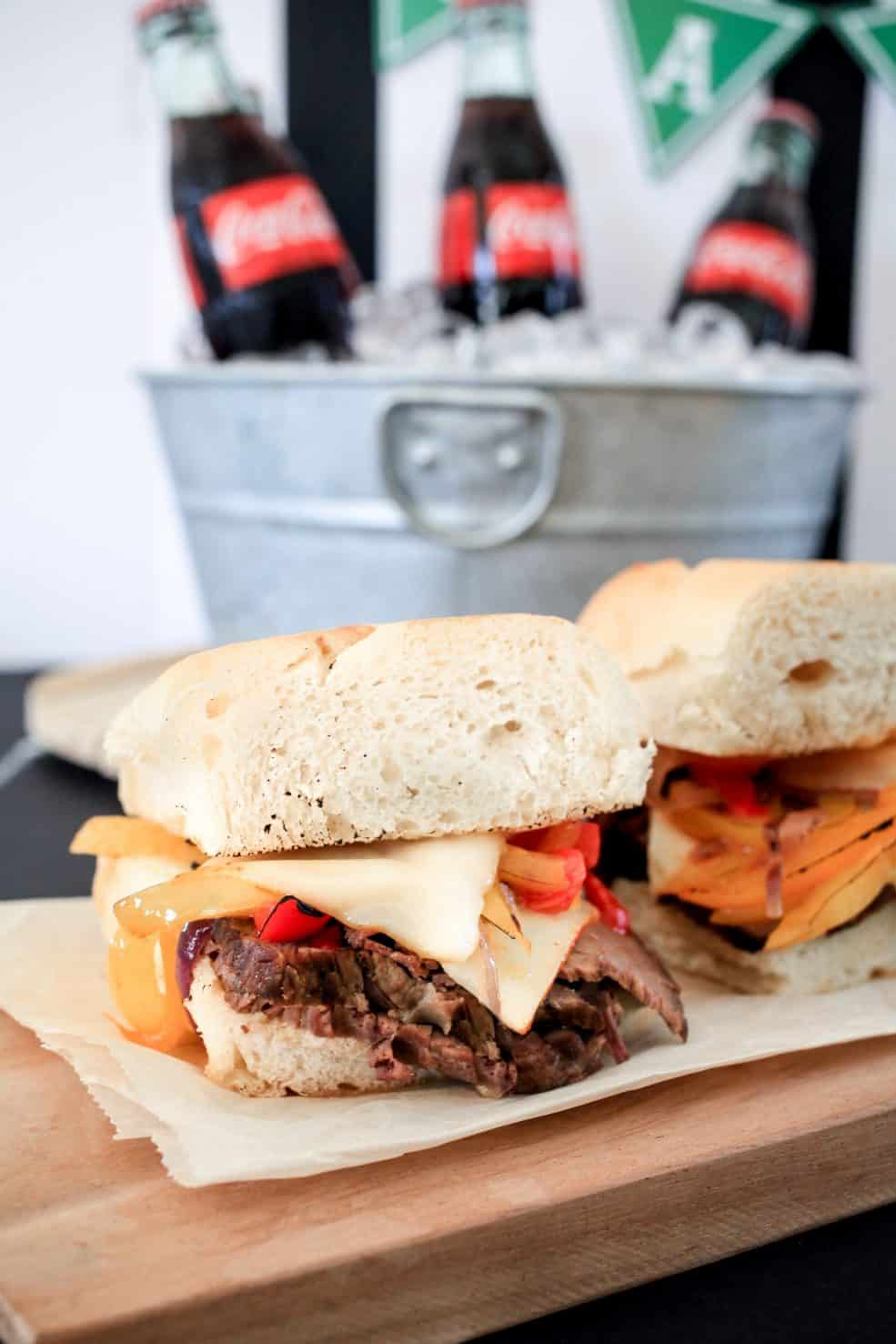 Game Day Eats! Easy RITZ Mallomars and Coca-Cola Slowcooker Beef and Pepper Sandwiches