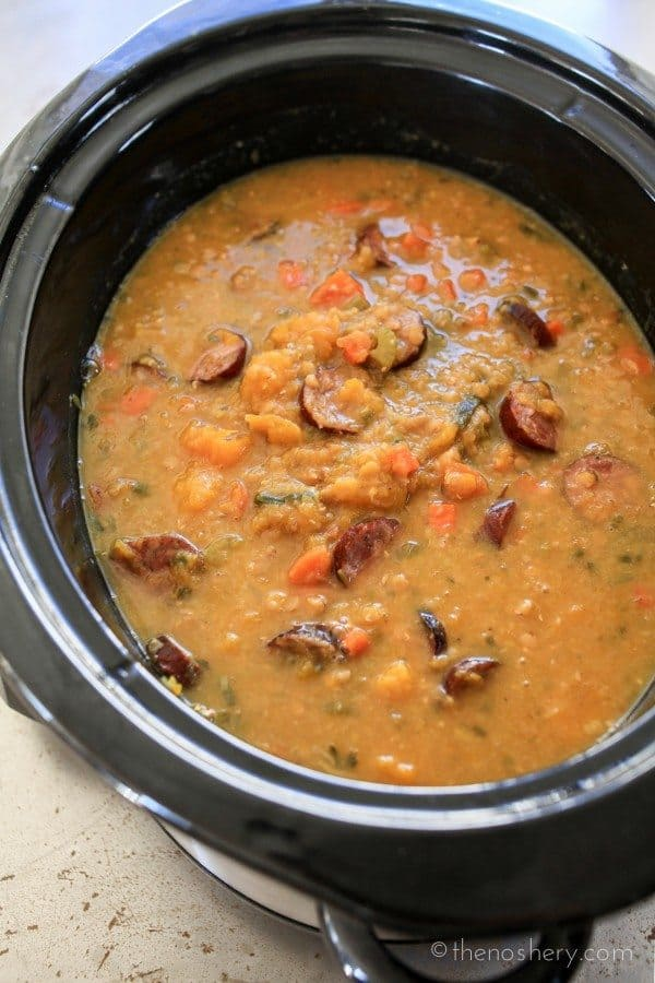 Slow Cooker Cajun Red Lentil and Butternut Soup #PourInnLove @collegeinnbroth   TheNoshery.com
