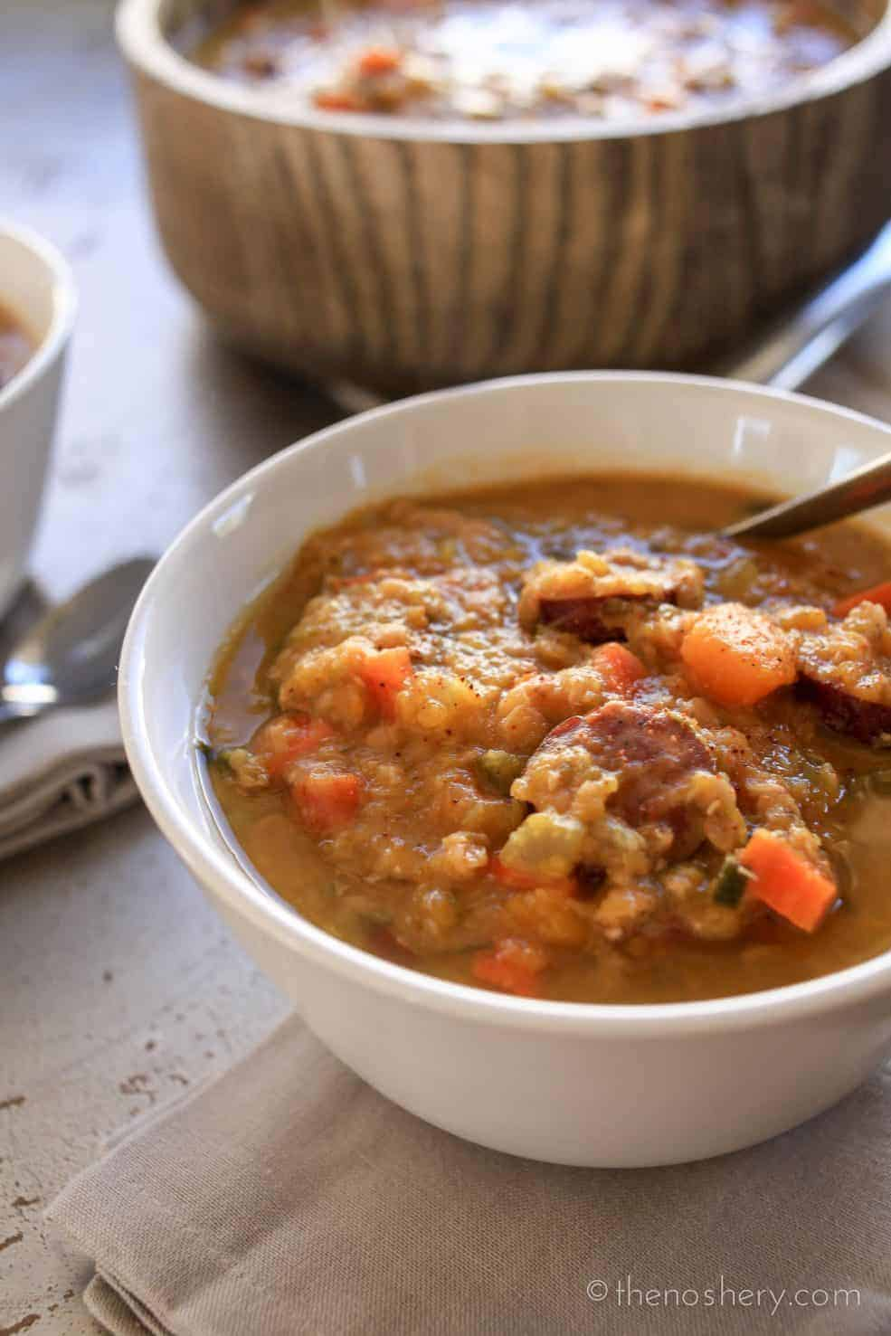 Slow Cooker Cajun Red Lentil and Butternut Soup