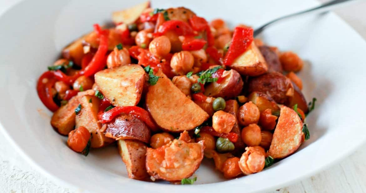 Spanish Roasted Red Potato Salad with Toasted Chickpeas ...