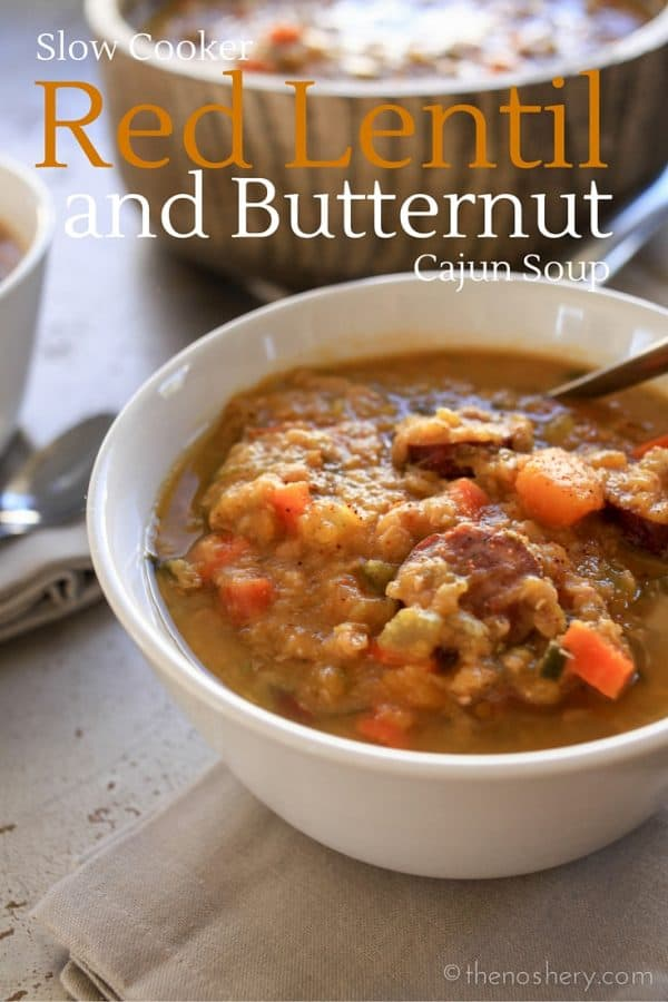 Slow Cooker Cajun Red Lentil and Butternut Soup #PourInnLove @collegeinnbroth | TheNoshery.com