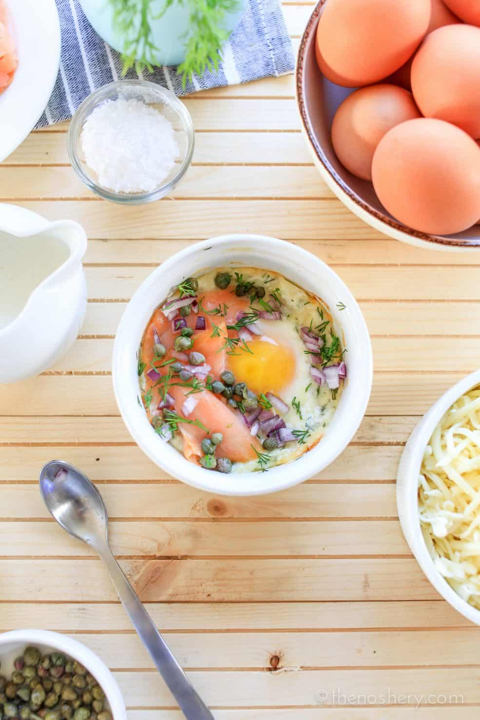 Baked Eggs with Smoked Salmon [VIDEO] | TheNoshery.com