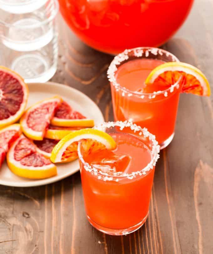 A Round of Margaritas | Blood Orange Margaritas - Garnish with Lemon