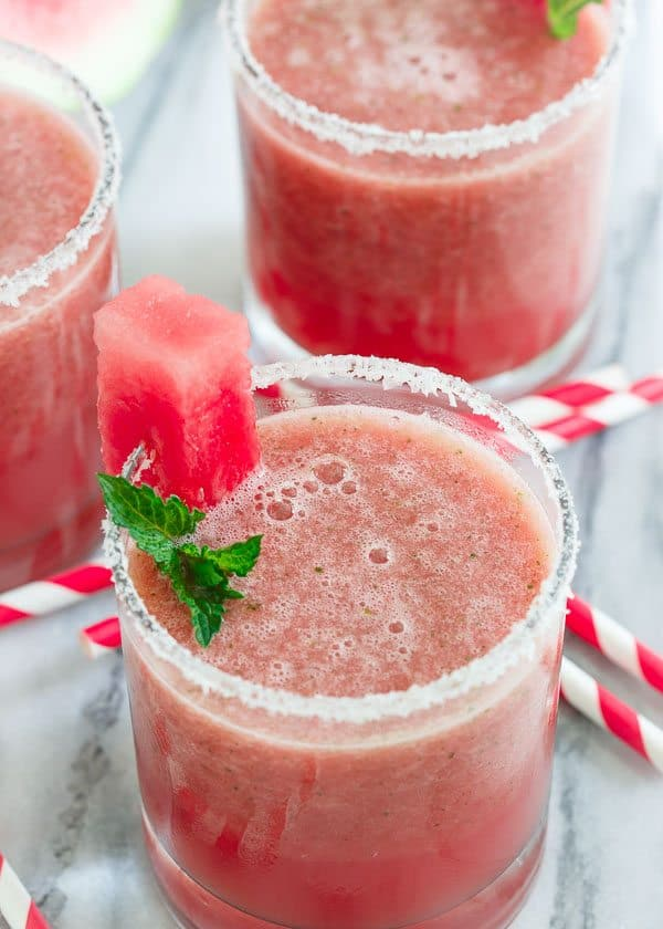 A Round of Margaritas! | Jalapeno Watermelon Margarita Shooters - Running to the Kitchen