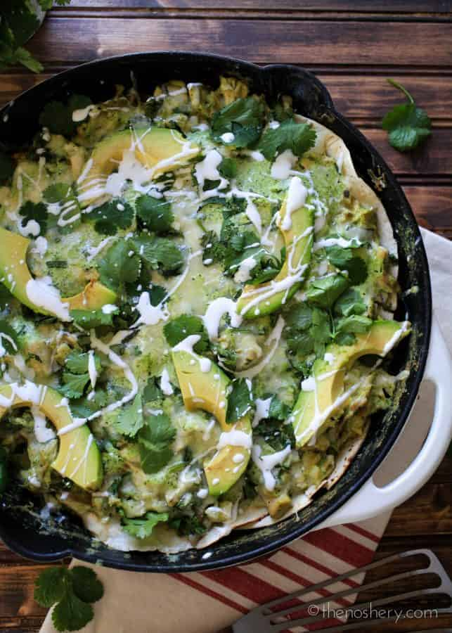 Skillet Roasted Poblano Chicken Enchiladas | TheNoshery.com