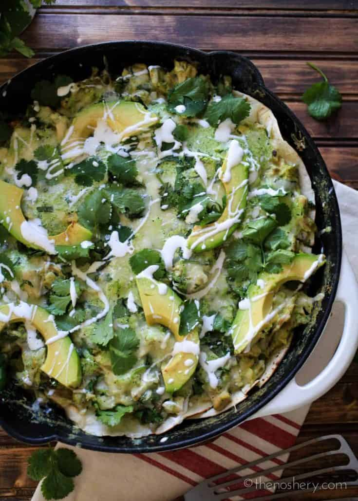 Roasted Poblano Chicken Enchilada Skillet | TheNoshery.com