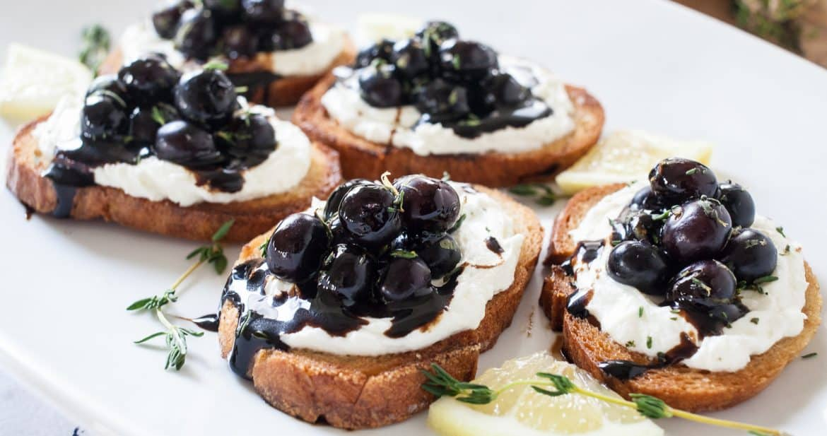 Whipped Goat Cheese and Blueberry Balsamic Crostini   TheNoshery.com