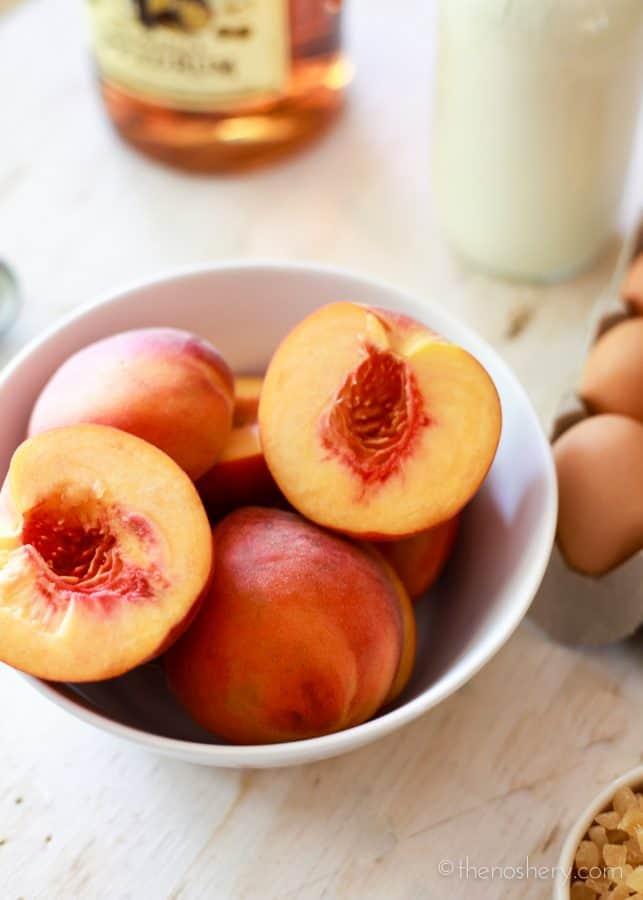 Peach Ginger Ice Cream with Rum Caramel | TheNoshery.com