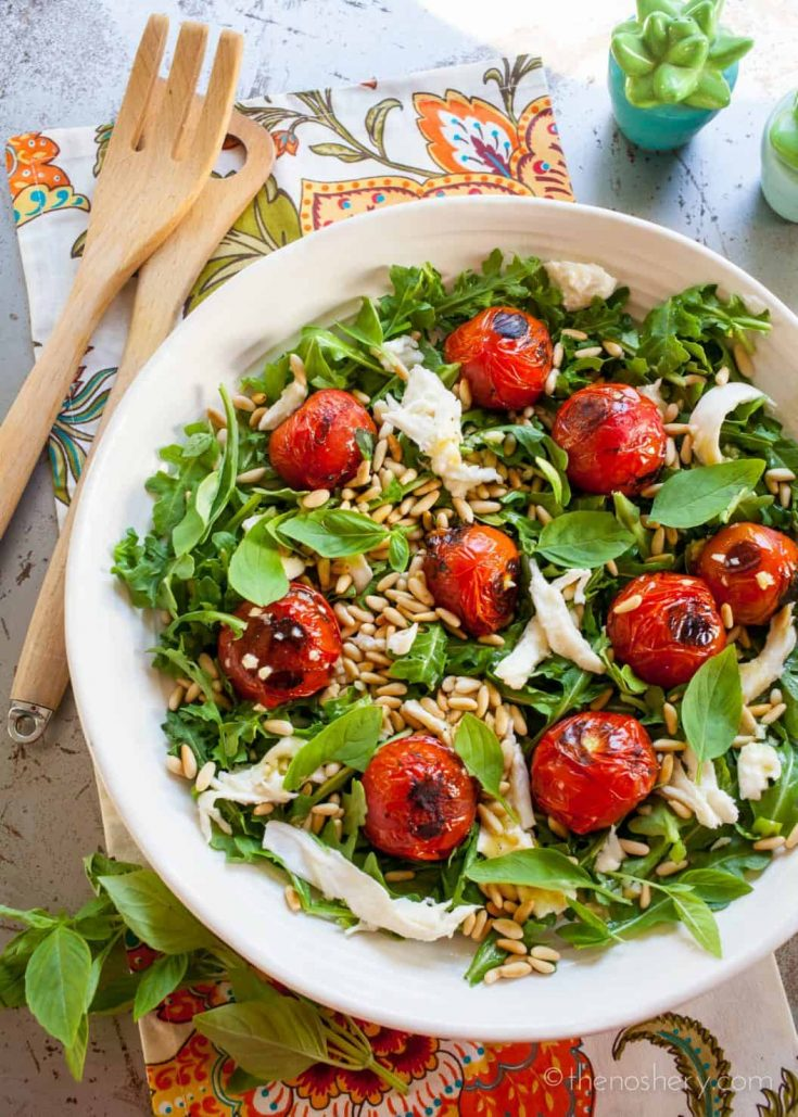 Blistered Tomato Mozzarella and Arugula Salad