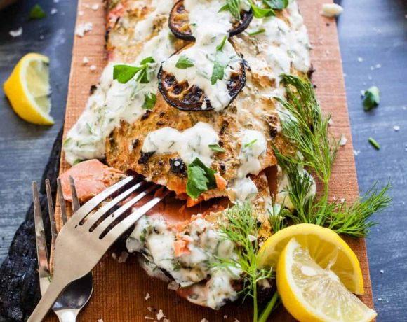 Cedar Plank Salmon and Herb Yogurt