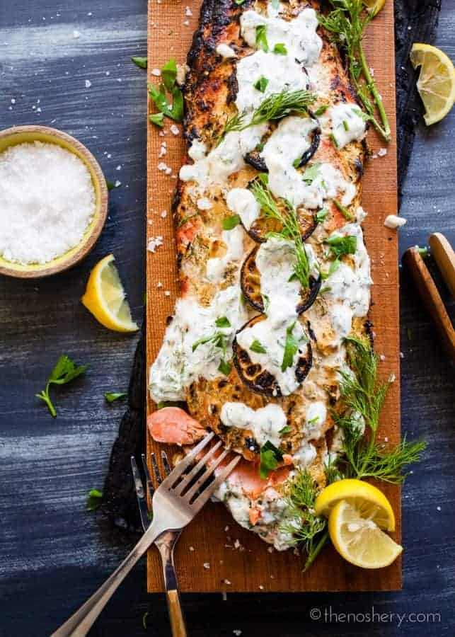 Cedar Plank Salmon with Herb Yogurt | TheNoshery.com