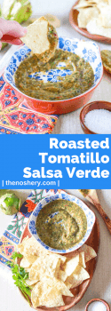 Roasted Tomatillo Salsa Verde | Roasted tomatillo salsa verde is fresh, tart, and simple to make. This recipe is full of cilantro, lime, and just a hint of heat. Eat it with everything! | The Noshery