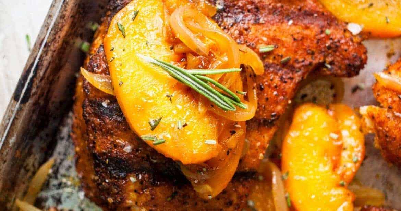 BBQ Rubbed Pork Chops and Peaches