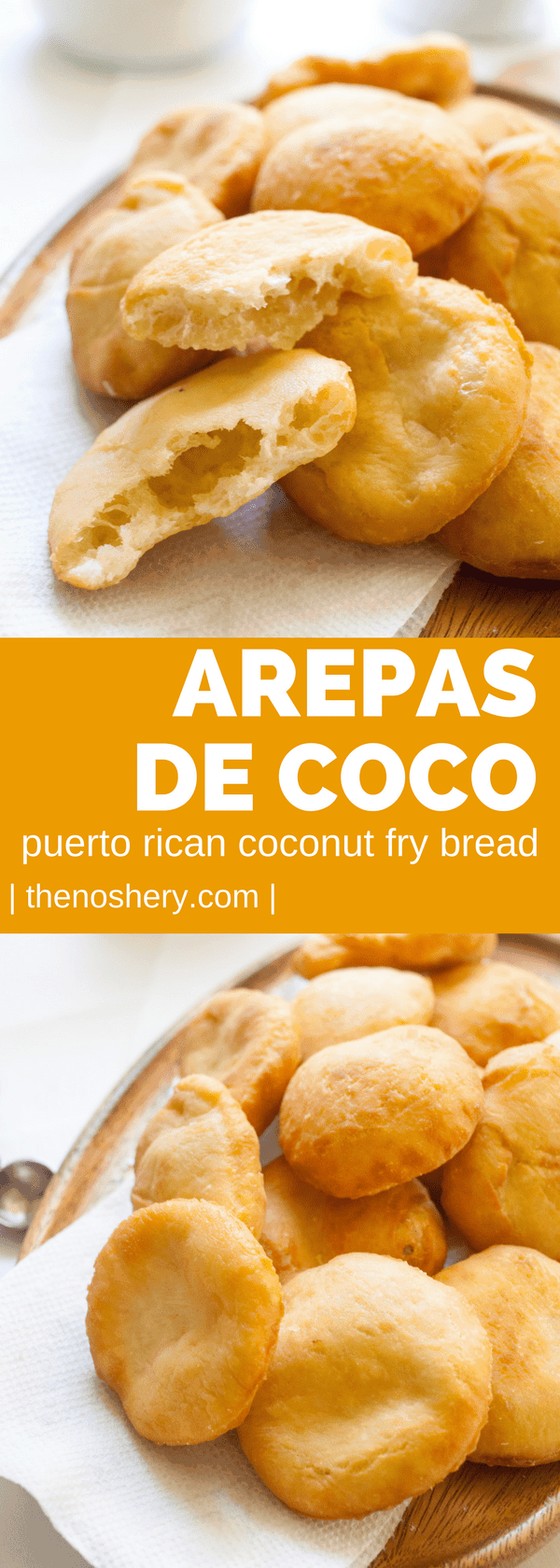 Arepas de Coco (Coconut Fry Bread) is one of my favorite street foods in Puerto Rico. This fry bread is light on the inside and crisp on the outside. | The Noshery