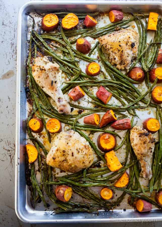 The Weeknight Dinner Cookbook: Sheet Pan Chicken with Green Beans and Potatoes | TheNoshery.com