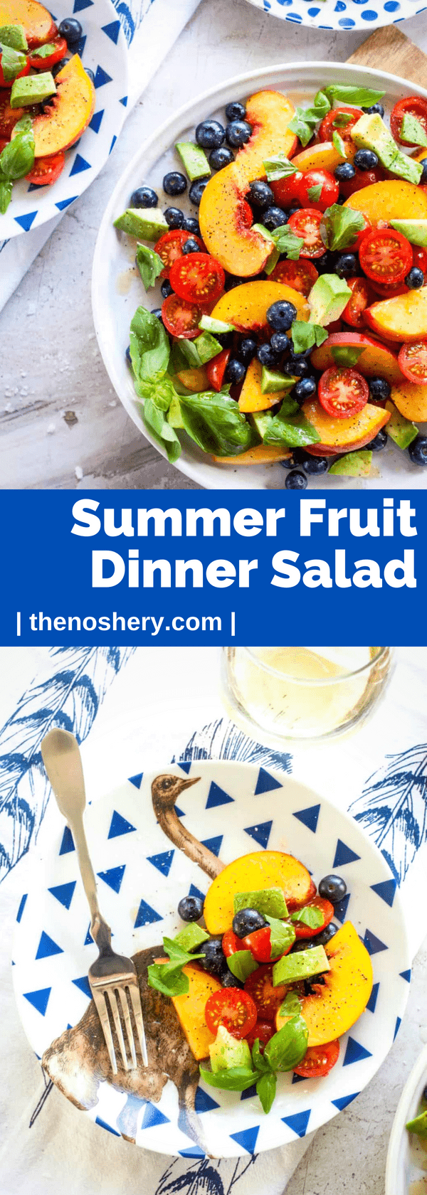 Summer Fruit Dinner Salad | Fruit salad isn't just for dessert or an afternoon snack. This fruit salad is savory and sweet perfect for summer dinners on the patio. | The Noshery