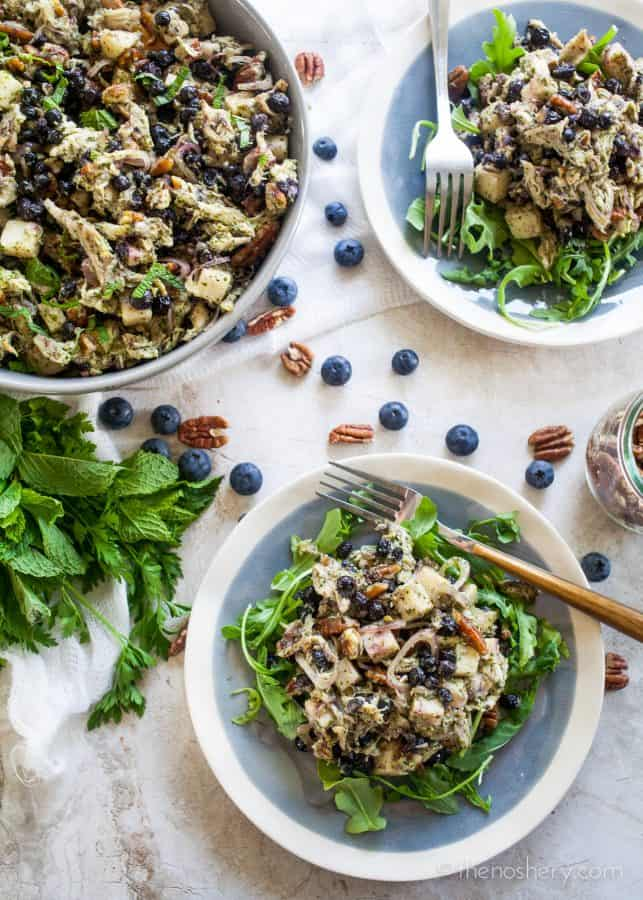 The Noshery | Blueberry and Pecan Chicken Salad with Mint Chimichurri @pompeian #AD