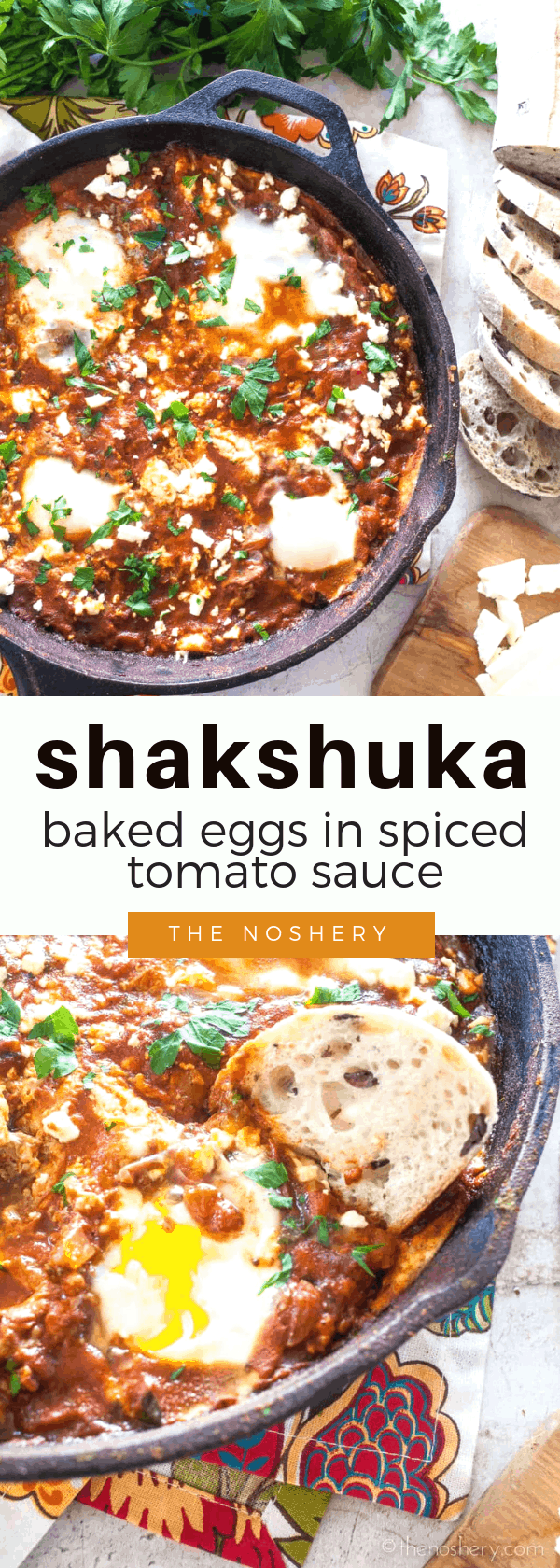 Shakshuka | Baked Eggs in Spiced Tomato Sauce | A dish enjoyed throughout the Mediterranean and Middle Eastern countries. It's a dish of eggs baked in a flavorful spiced tomato sauce and served with crusty bread. So, tear off a piece of bread and dive in! | The Noshery
