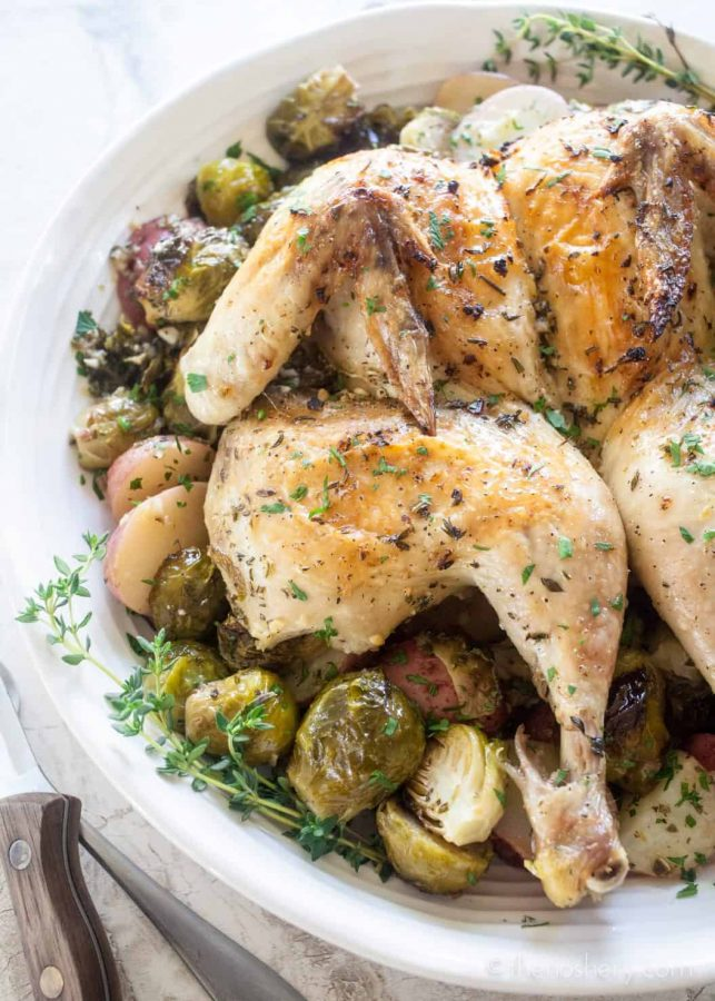 Lemon Garlic Spatchcock Chicken Dinner   Platter of whole spatchcock chicken on a bed of roasted Brussels sprouts and potatoes.   The Noshery