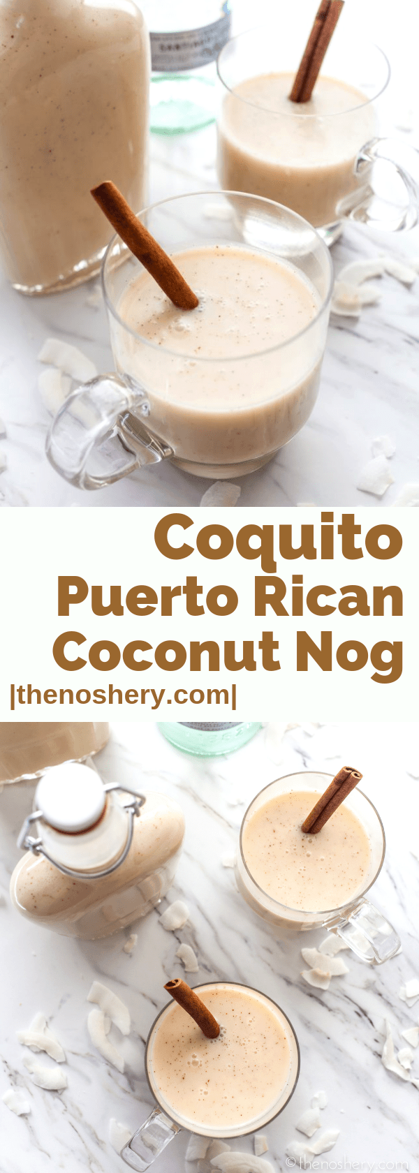Coquito: Puerto Rican Coconut Nog | Coquito is a creamy coconut rum drink that is essential to any Puerto Rican Christmas celebration. It's best enjoyed super cold. | The Noshery