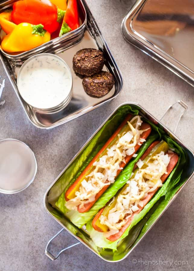 Healthy Lunch | No Bun Hot Dog | TheNoshery.com