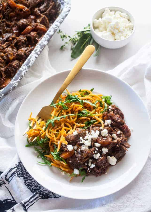 Red Wine Beef and Sweet Potato Noodles | TheNoshery.com