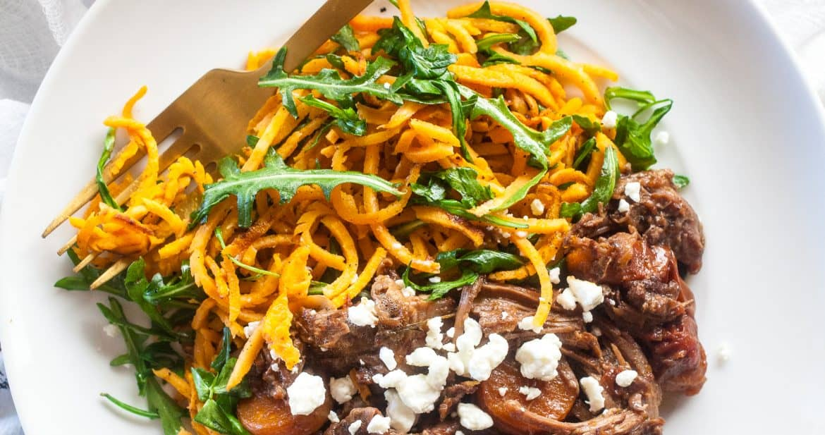 Sweet Potato Noodles and Red Wine Beef