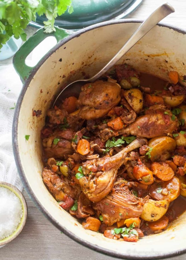 Fricase de Pollo (Chicken Fricassee) | Fricase de pollo it's a traditional Puerto Rican dish of chicken that is braised in wine with potatoes and carrots. It the kind of dish that warms your heart, fills your belly. | The Noshery