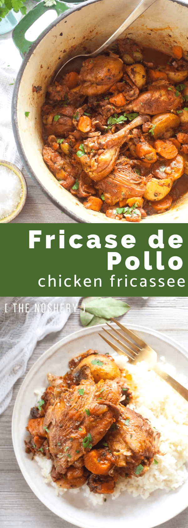 Fricase de Pollo (Chicken Fricassee) | Fricase de pollo a traditional Puerto Rican dish of chicken that is braised in wine with potatoes and carrots. It the kind of dish that warms your heart. | The Noshery