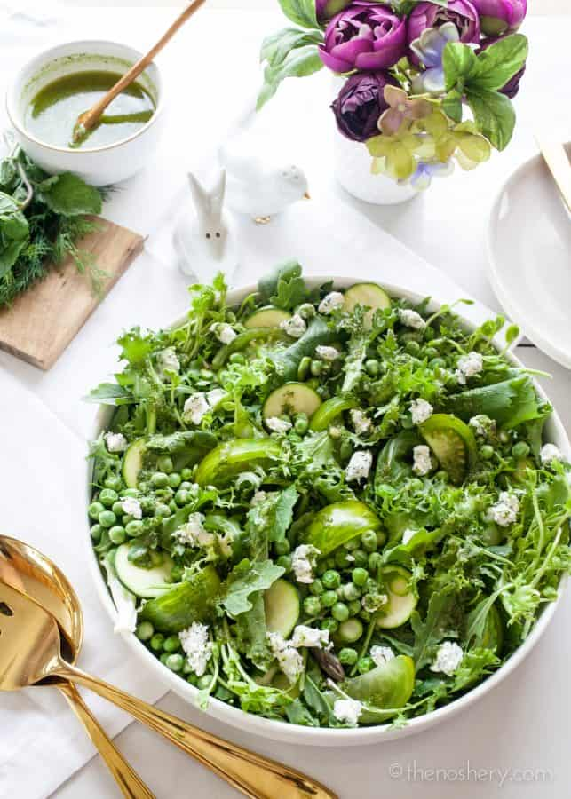 Big Green Salad with Mint Dill Vinaigrette | TheNoshery.com