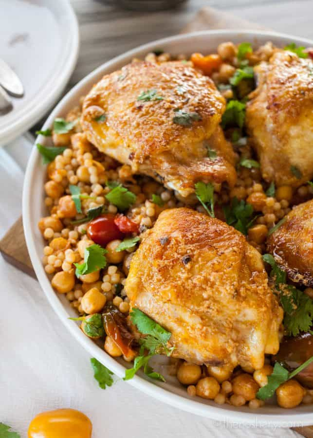 Paprika Chicken with Israeli Couscous Chickpea Salad | The Noshery