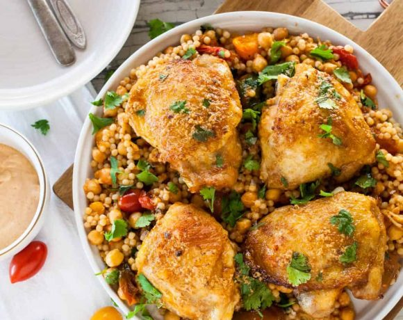 Roasted Paprika Chicken with Israeli Couscous Chickpea Salad