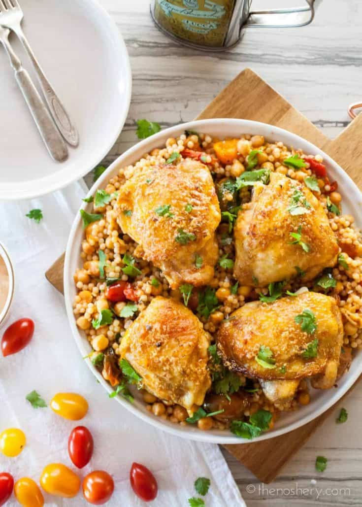 Paprika Chicken with Israeli Couscous Chickpea Salad