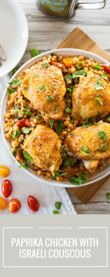 Roasted Paprika Chicken with Israeli Couscous Chickpea Salad | TheNoshery.com