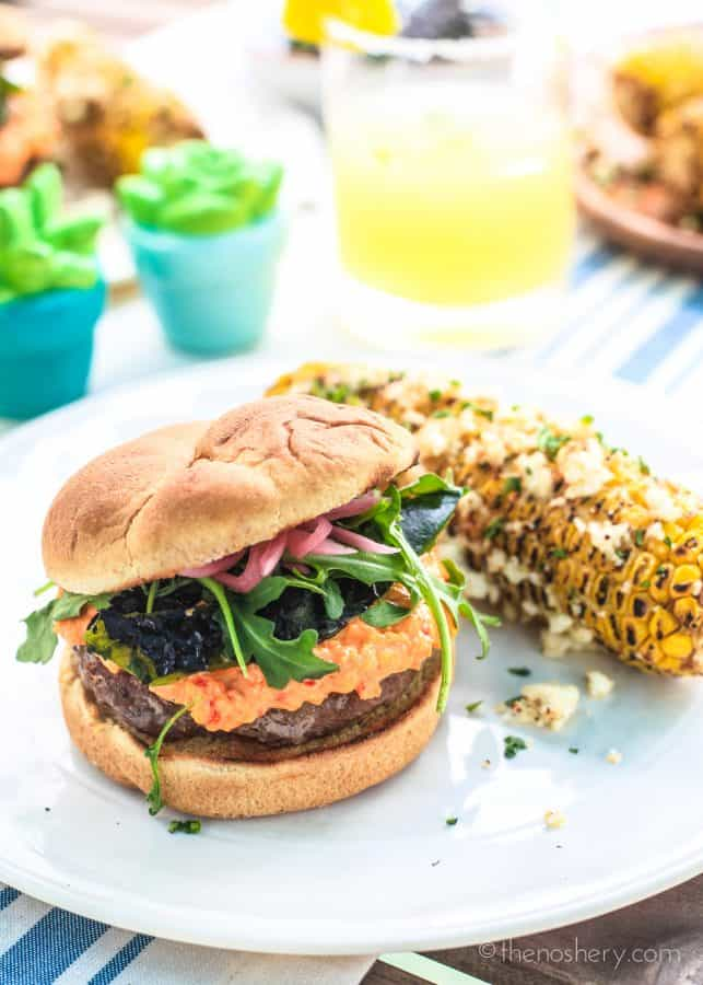 Spicy Chorizo Burger with Pimento Cheese | TheNoshery.com #burgermonth
