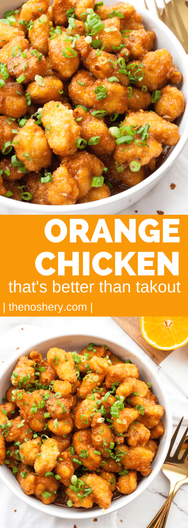 Orange chicken with a light crispy breading & a sweet and tangy sauce. There is no lack of orange flavor, & the red pepper flakes give it a touch of heat. | The Noshery