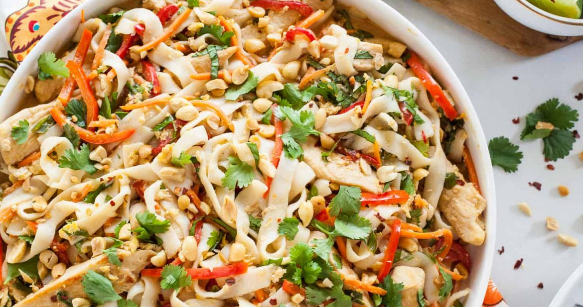 Light Thai Peanut Noodles with Chicken | The Noshery