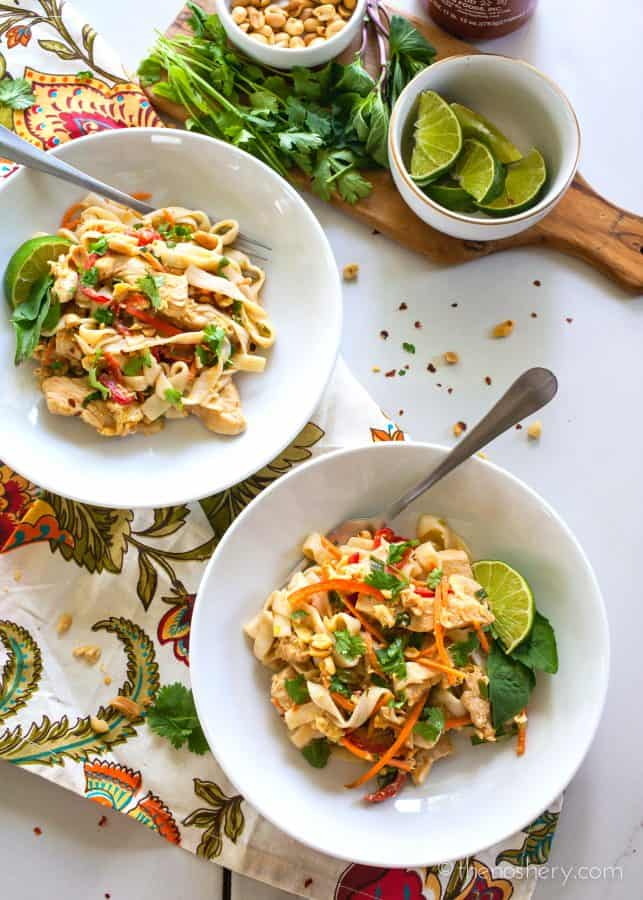 Light Thai Peanut Noodles with Chicken | TheNoshery.com