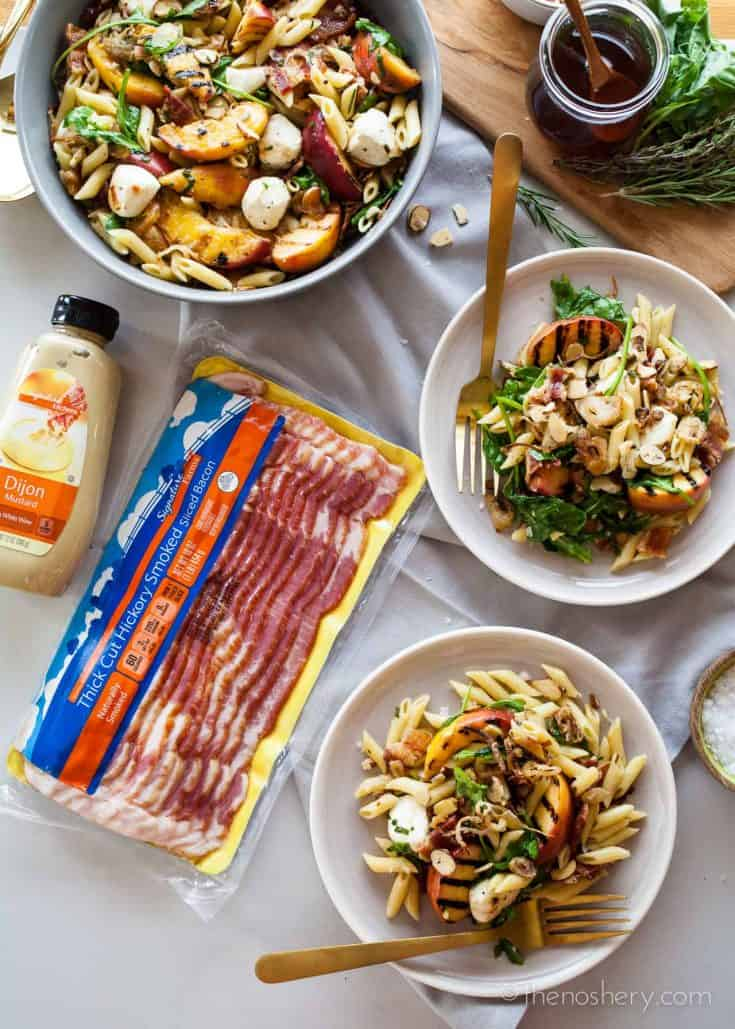 Grilled Peach Pasta Salad | TheNoshery.com