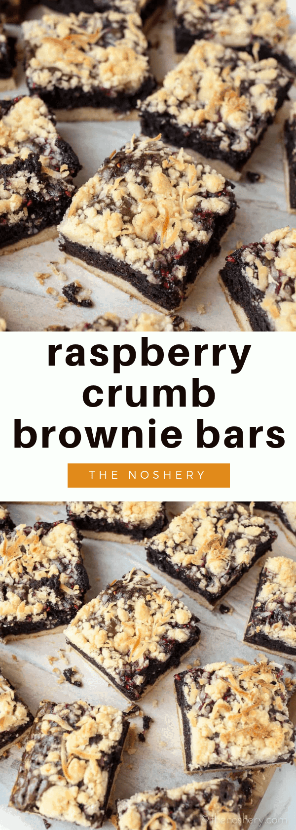 Raspberry Brownie Bars | Make boxed brownie mix awesome with some raspberry jam, coconut, and buttery crumbs. | The Noshery
