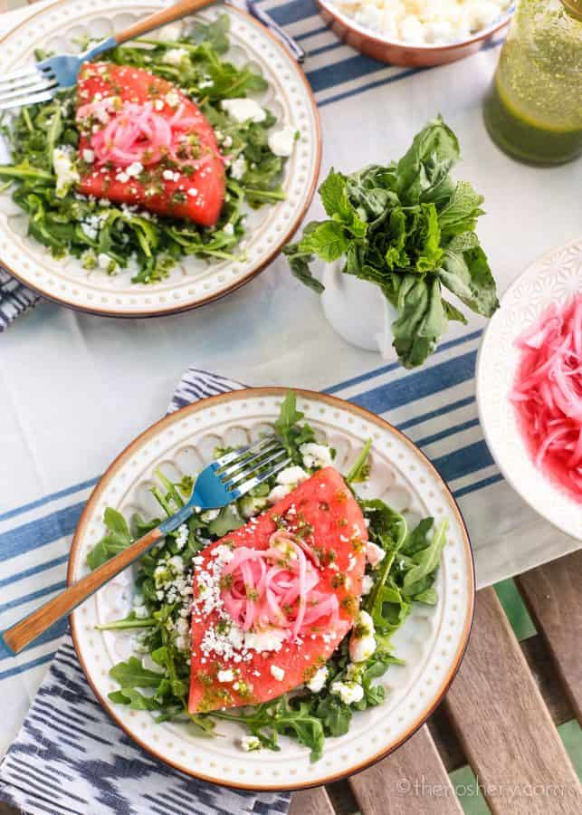 Watermelon Summer Salad with Mint Basil Vinaigrette | TheNoshery.com