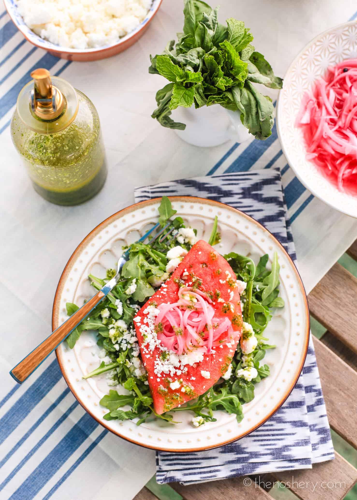 Watermelon Summer Salad with Mint Basil Vinaigrette   The ...