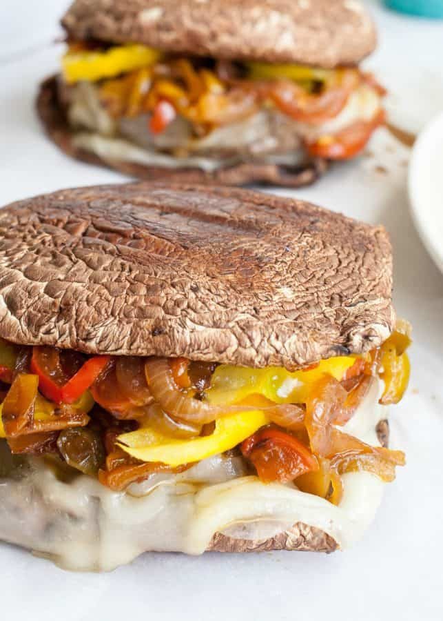 Portobello Philly Cheese Burger  | The Noshery