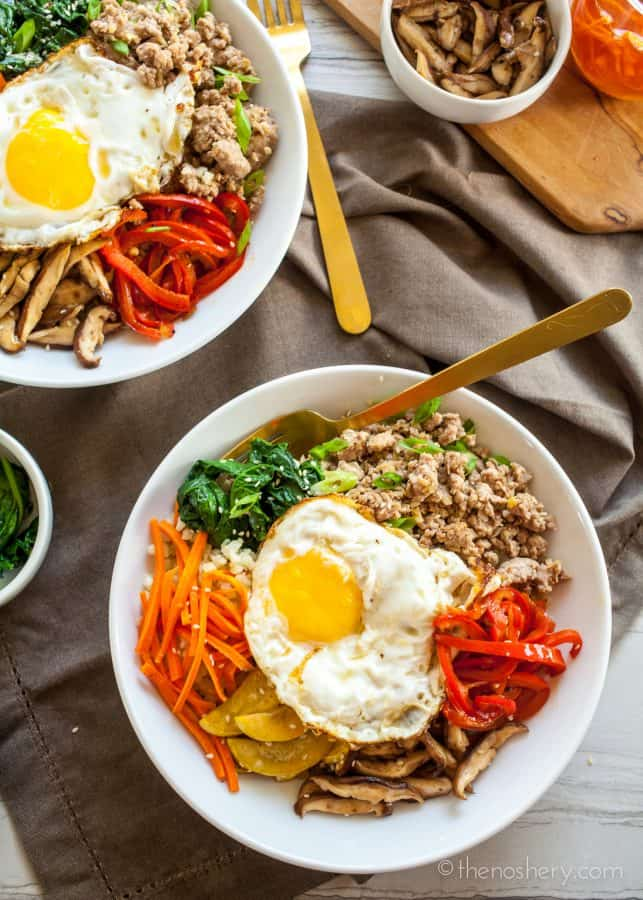 Paleo Bibimbap | Ground Pork Bulgogi + Cauliflower Rice | The Noshery